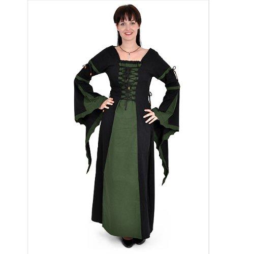 Grandeur Nature - Robe Médiévale Leona - Manches Longues - Noir/Vert Multicolore