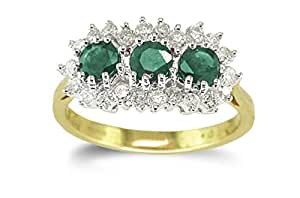 Attractive 9 ct Gold Ladies Trilogy Diamond Ring Brilliant Cut 0.50 Carat H-I1 with Emerald Size L