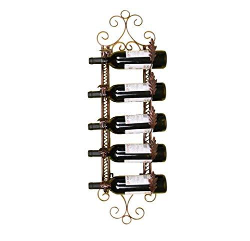QWE Weinregal, Wandregal Für Wein, 5 Flaschen, Wandhalterung Für Wein, 25 X 14 X 95 cm,Bronze,A -