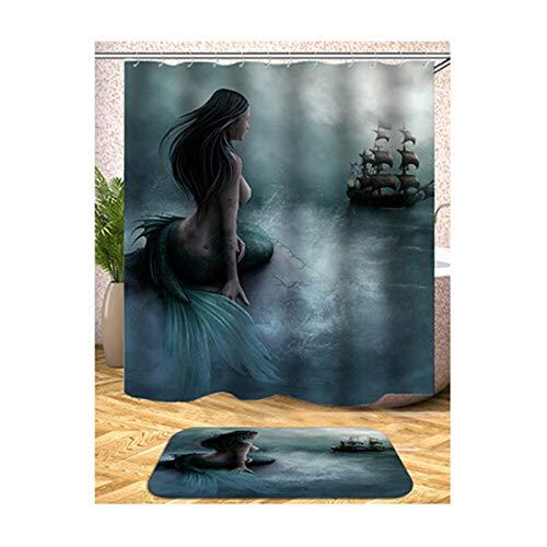 Blisfille Badvorhang Vintage Bunte Duschvorhänge Meerjungfrau Muster 165X180Cm Für Badezimmer Anti-Schimmel Antibakteriell (Meerjungfrau Duschvorhang Vintage)
