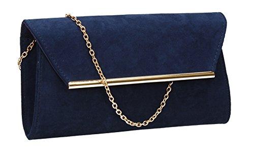 Sacoche pour femme, modèle Sabrina, apparence de daim, pour fête, graduation, par SwankySwans - bleu - bleu marine,