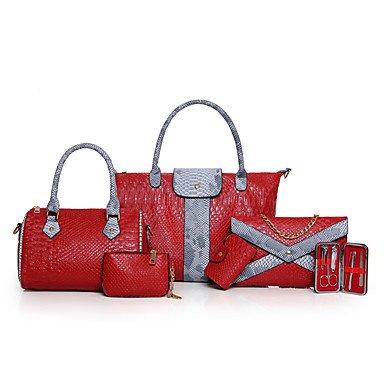 Le donne della moda classica borsa Crossbody,Nero Red