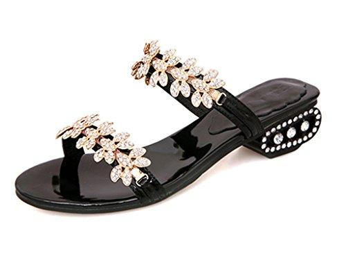 ZCJB Sandales Sandales À Talons Mi-Rouges Femmes Chaussures À Talons Gras Chaussures De Mode Sandales En Cristal Femmes Sandales Et Pantoufles