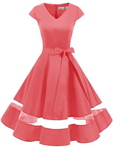 tage Retro Cocktailkleid Cap Sleeves Rockabilly Kleider Damen Schwingen Petticoat Faltenrock Coral XS ()