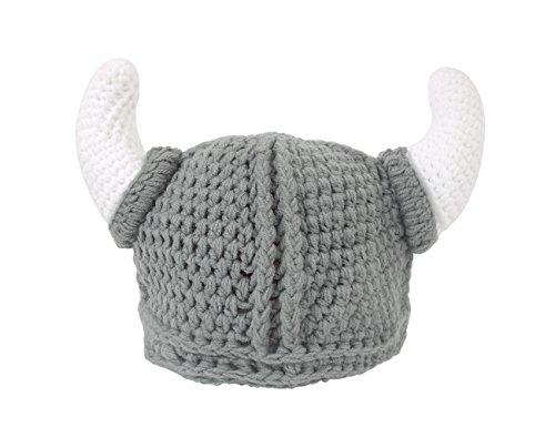 Nfl Kostüme (YPS Süß Bull Horn Mütze Gap Handgefertigt aus Häkeln Wikinger -)