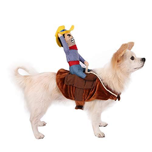 HDE Cowboy-Kostüm für Hunde, Halloween, weicher Sattel mit gefülltem Cowboy-Outfit für mittelgroße und große Hunde, Large, braun
