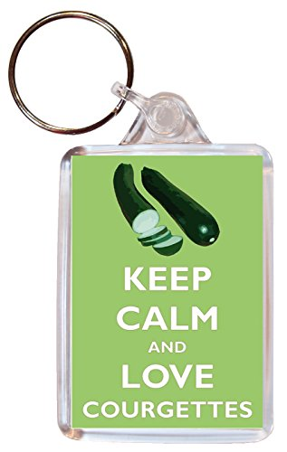 Keep Calm and Love Courgettes - Double Sided Large Keyring Gift/Present/Souvenir