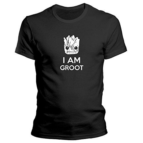 ZDesignONE I Am Groot Face Guardians of The Galaxy T-Shirt Größe XS-4XL Geschenk Schwarz