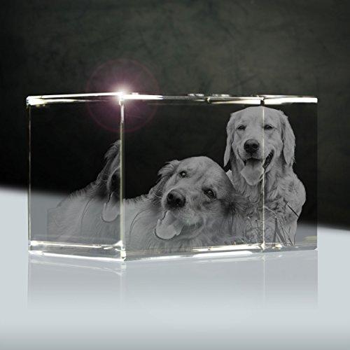o (3D) | Quader 90mm | 1 bis 3 Personen oder Tiere zB als Geschenk für Paare mit Hund ()