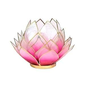 Porte Bougie Fleur de Lotus Capiz Rose - 15x15 cm