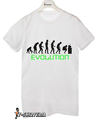 t-shirt humor Pc evolution, evoluzione computer - tutte le taglie uomo donna maglietta by tshirteria bianco