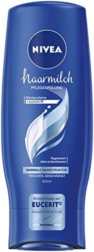 Nivea 4er Pack Haar-Pflegespülung für normale Haarstruktur, 4 x 200 ml Flasche, Haarmilch