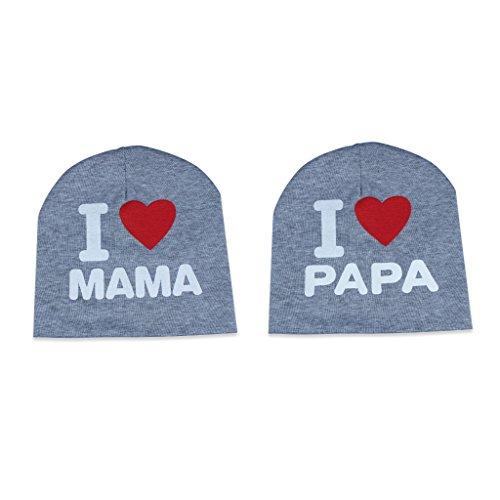 Edealing Arbeiten Sie netten Liebes-Baby-Hüte Mützen Wintermützen Mütze für Kinder scherzt Ich liebe Mama / Papa Packung mit 2