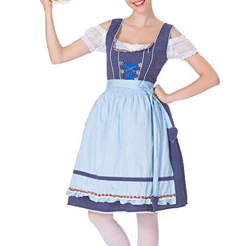 junkai Frauenmädchen Kleid Deutsch Bayerisches Kostüm Bier Mädchen Kleid Oktoberfest Biermädchen Kostüm Halloween Party (Deutsch Bier Mädchen Kostüm)