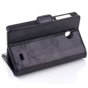 Oil Grain High Quality Flip Stand PU Leather Case for Nokia X With Card Slots - Black