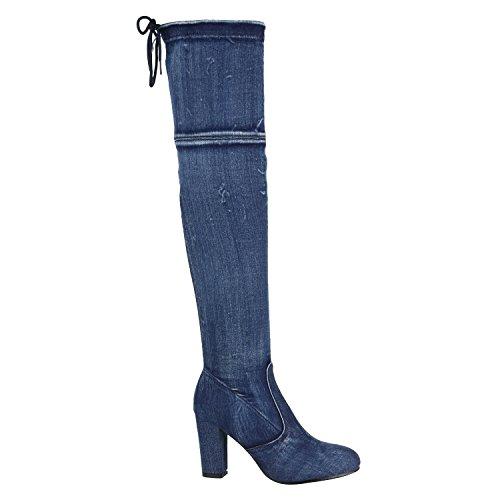 Damen Schuhe Overknees Schleifen Langschaft Stiefel Leder-Optik 144368 Blau Denim 38 Flandell -