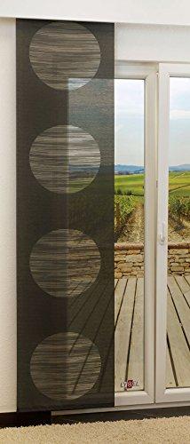 LYSEL Schiebegardine Target Transparent mit Kreisen in Den Maßen 245 cm x 60 cm Schwarz/Anthrazit