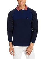 LP Louis Philippe Mens Woollen Sweater (8907410665985_LYSW516S05446_Medium_Dark Blue With Black )