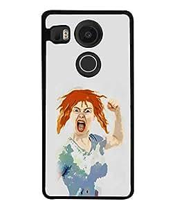 FUSON Designer Back Case Cover for LG Nexus 5X :: LG Google Nexus 5X New (White Colour background Cute girly Devil Demon)
