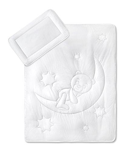 KiGaTex Premium Kinder Betten Set Mondbärchen/Bezug 100% Baumwolle 40x60 + 100x135 cm Öko-Tex Zertifiziert -