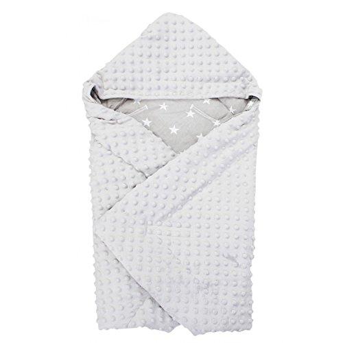 TupTam Baby Sommer Einschlagdecke für Babyschale, Farbe: Sterne Grau, Größe: ca. 75 x 75 cm