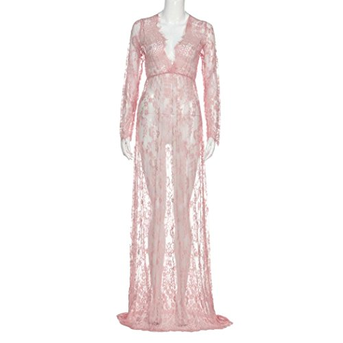 Kanpola Damen Nachthemden Kleid Lang Große Größen Locker Spitze Bademäntel Morgenmäntel Elegant Schlafanzüge Nachtwäsche (XXXL, Rosa) (Rosa Frottee-kleid)