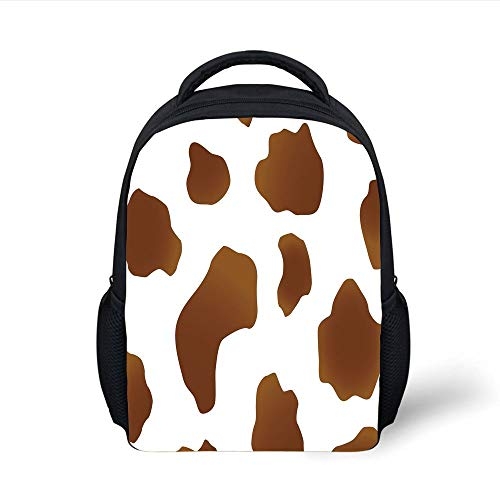 Kids School Backpack Cow Print,Brown Spots on a White Cow Skin Abstract Art Cattle Fur Farm Animals Cowboy Barn Decorative,White Brown Plain Bookbag Travel Daypack -