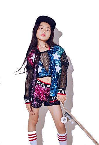 Jazz Modern Dance Kostüm - moyuqi New Kinder Mädchen Kostüme Jazz Dance Hip-Hop Modern Dance Kostüme Baseball Kleidung Pailletten Dancewear, 140 cm