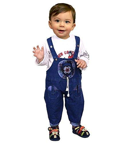 Manraj collection Baby Boy's and Girl's Cotton Full Sleeves Denim Dungaree with T-Shirt Hosiery (Blue, 12-18 Months)