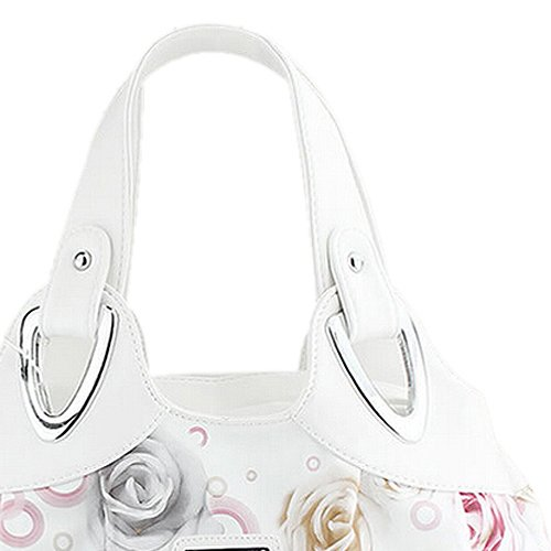 TOOGOO(R) Adatti la borsa di cuoio delle donne PU Bag Tote Bag Borse di stampa Satchel -Dream cartamo + Handstrap bianco Rosso rosa&manico bianco