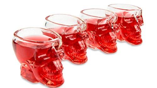 r (60ml), 3D Totenkopfgläser für die Hausbar, Party, Halloween, Geschenk im Totenkopfdesign, für Vodka, Whiskey, Likör, Totenkopf, Schnapsglas, Rock, Metal, Farbe: transparent ()
