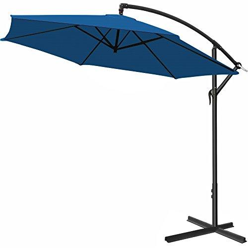 Deuba Parasol en alu - Jardin terrasse Balcon - Pare Soleil - Manivelle - Ø 330cm Bleu