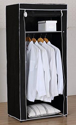Textil Falt Kleiderschrank Textilkleiderschrank Faltkleiderschrank 70x46x150 cm 2290 (Schwarz)