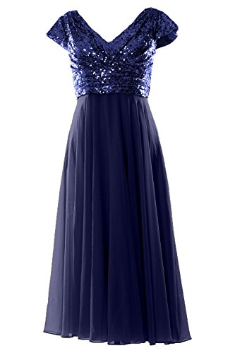 MACloth - Robe - Trapèze - Manches Courtes - Femme Azul Marino Oscuro