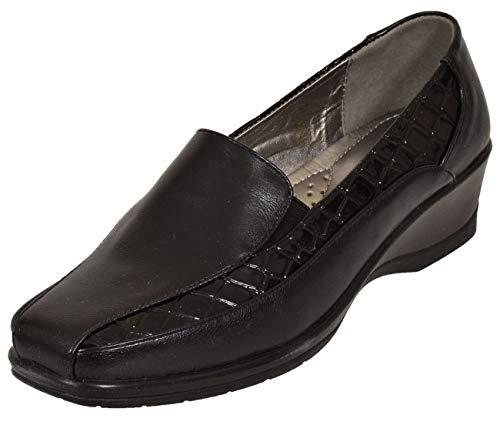 13a04d8e Shoe Tree Comfort - Botas Mocasines de Sintético Mujer, Color Negro, Talla  42