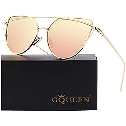 GQUEEN Ojos De Gato Espejo Gafas de Sol MS4 para Mujer A Dorado Rosa Grande