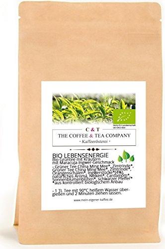 BIO Grüntee aromatisiert Lebensenergie 100 g mit Maracuja-Ingwer-Geschmack Nachfüllpack | Loser Tee aus ökologischem Anbau im Kraftpapierbeutel