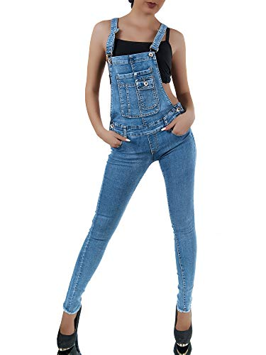 Damen Jeans Latzhose Overall Jumpsuit Latzjeans Skinny Röhre Normaler Bund P222, Farben:Blau, Größen:42 (XL) Diva Jumpsuit