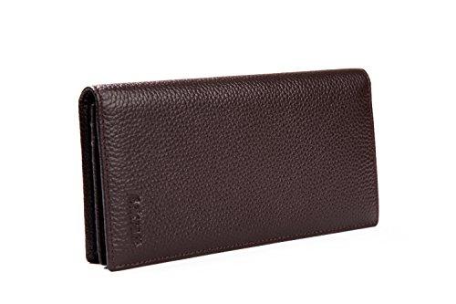 Herren Geldbörse Echt leder mit RFID-Blocking stilvolle Brieftasche - Ausgezeichnet als Travel Bifold Geldbeutel - Credit Card Protector Ledergeldbörse Wallet- Schwarz L-braun