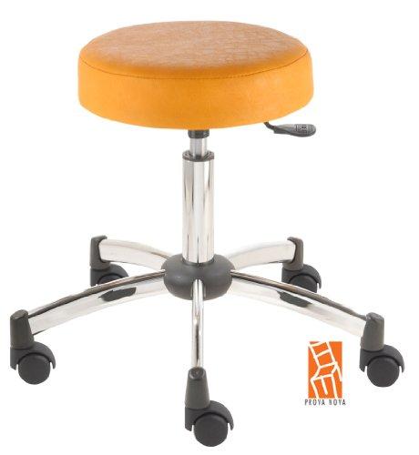 Arbeitshocker, Arzthocker, Drehhocker, Rollhocker Modell steel Hubbereich ca. 44 -58 cm, Rollen mit harter Radbandage. Ideal geeignet für weiche Böden wie z.B. Teppich. Sitzfarbe mais