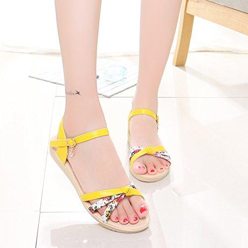 XY&GKFond plat pour femmes sandales à semelle souple pour les filles 37 bright yellow