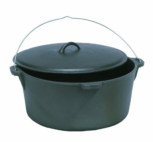 Texsport Cast Iron Dutch Oven with, Lid, Dual Handles and Easy Lift Wire Handle.