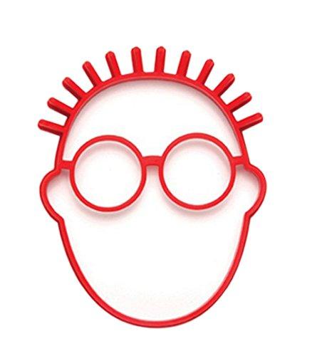 Hacoly 3D Formen Silikon Backen Silikonformen Gesicht Mit Brille Silikon Mould Fondant für Zuckerguss Kuchen-Deko Gießharz Blütenpaste Fondant Eiswürfel