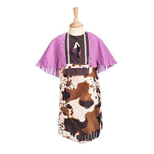 Cowgirl Indianerin Kostüm Kinder 2-tlg. Wilder Westen Kleid mit Haarband rosa - 9/11 (Kinder Kostüme Cowgirl Rosa)