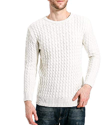 Preisvergleich Produktbild Andopa Herren steinig kabel woven plus size pullover pullover sweater 2XL Weiß