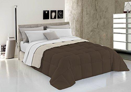 Trapunta matrimoniale invernale panna marrone double face bicolore 260x260 cm microfibra ottima qualità made in italy