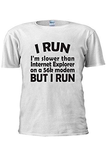I Run I'm Slower Than Internet Explorer 56K Modem Unisex T Shirt Top Men Women Ladies