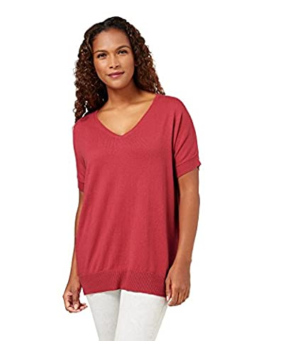 WoolOvers Womens Cashmere and Cotton Short Sleeve Knitted Tunic Russet Red, M