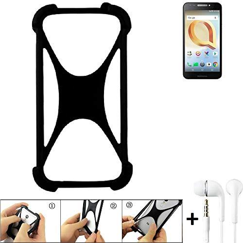 K-S-Trade Handyhülle für Alcatel A30 Plus Schutzhülle Bumper Silikon Schutz Hülle Cover Case Silikoncase Silikonbumper TPU Softcase Smartphone, schwarz (1x), Headphones