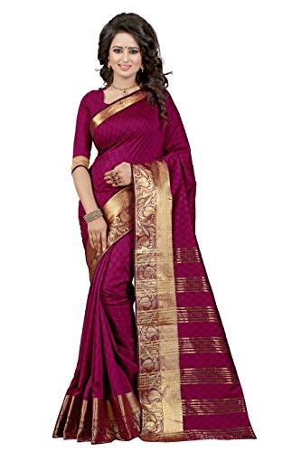 J B Fashion Women's Cotton Silk Saree With Blouse Piece(sarees for women-RAJ BAHUBALI SAREES) (mazenta)  available at amazon for Rs.899